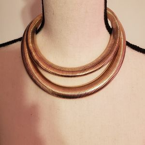 Ladies double rounded gold choker necklace
